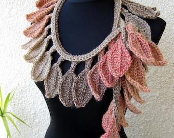Crochet Scarf PATTERN-Autumn Leaves Fall-Crochet Lariat Scarf-DIY Crafts-Chunky Scarf-Instant Download PDF Pattern No.50 by Lyubava Crochet
