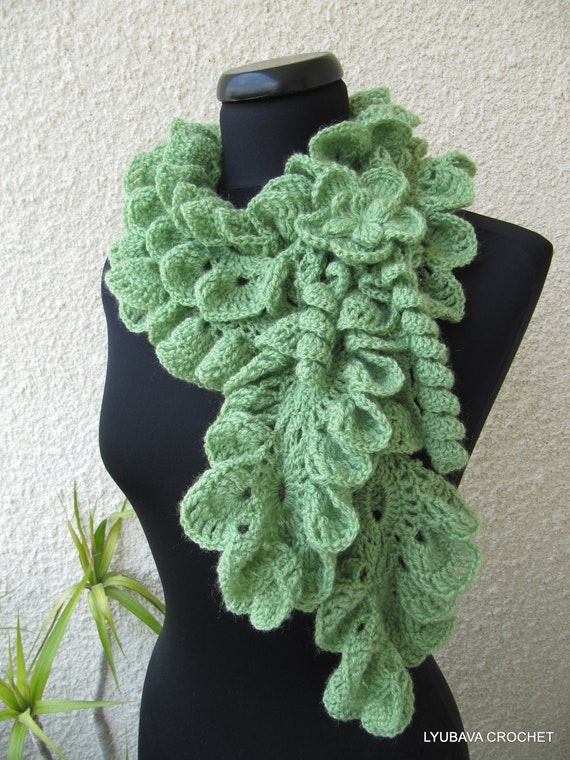 Crocheting Ruffle Scarf : ... To Ship Ruffle Scarf, Handmade Romantic Green Scarf, Lyubava Crochet