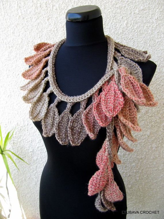 Crochet Scarf Pattern Autumn Leaves Fall Crochet Lariat Scarf