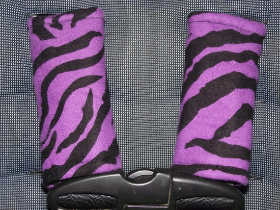 New Handmade infant carseat strap covers Purple Zebra stripes