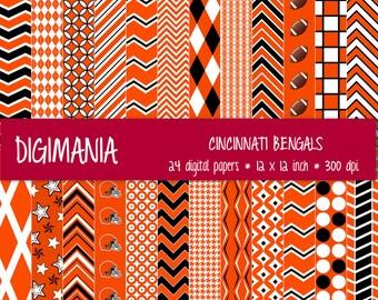 OFF %40 - INSTANT DOWNLOAD - Digital Paper Pack -  Cincinnati Bengals Colors - Black, Orange and White 24 Printable Papers