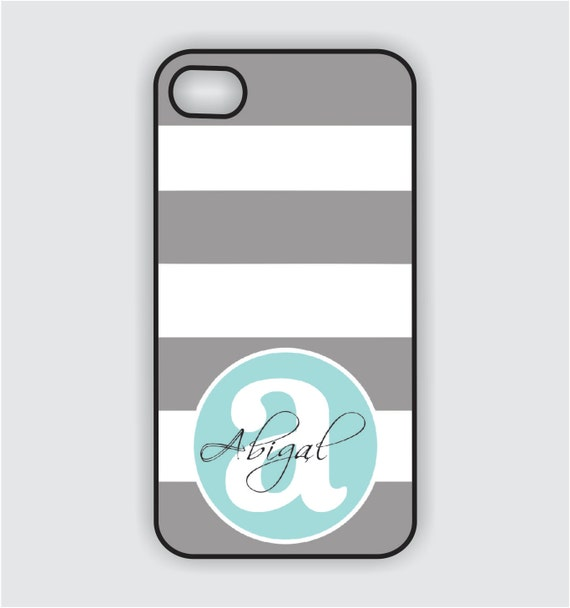 iPhone 4 Case - Grey Stripes / Tiffany Blue Monogram - iPhone Case, iPhone 4 Cover, Fits both iPhone 4 and iPhone 4s