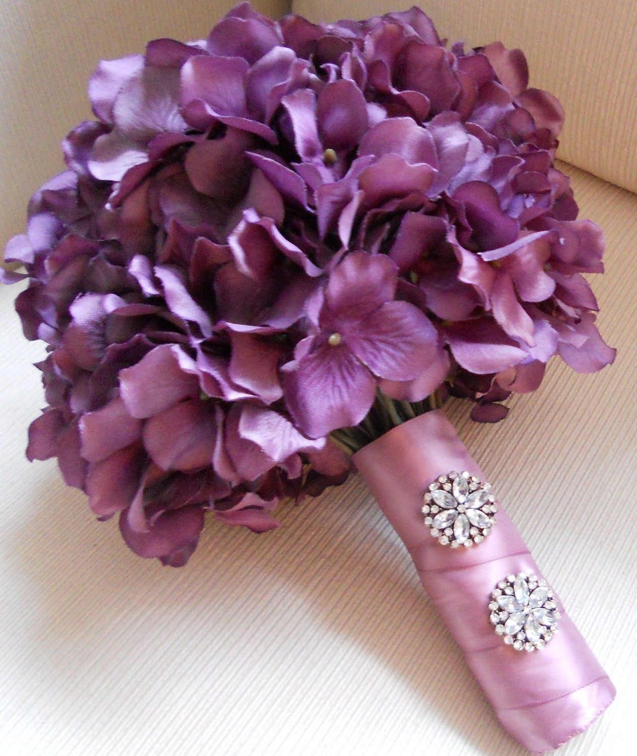 Purple hydrangea bouquet with rhinestone accents by