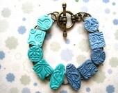 Stamped Polymer Clay Bracelet - Aqua and Denim Texture Tiles