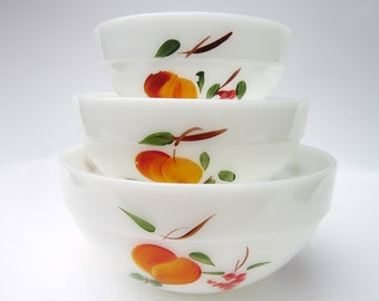 "Vintage Fire King ""Gay Fad"" Mixing Bowls -- Hand-Painted Milk Glass Nesting Bowls with Peaches, Pears & Grapes"