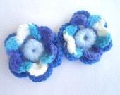 Crochet Flower, Blue, handmade flower, Set of 2. decor, flowers, handmade flowers.