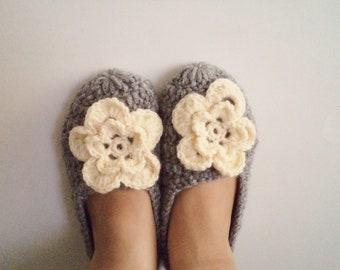 Crochet Slippers, Handmade Socks, House Shoes, Adult slippers, Gift ideas, Socks. Grey, Women Gift, Kniting, Women's Shoes