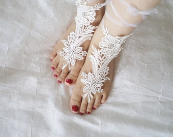Wedding Sandals Beach Sandal Shoes  bridal sandals wedding bridal barefoot sandles ivory shoes wedding shoes