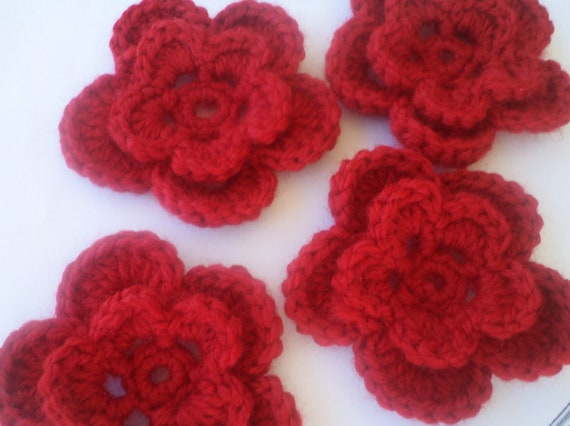 Christmas decorations home decor Bridal Flowers Crochet Flower table decorations fabric flowers Set of 4 handmade red flowers