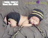 Crochet Baby Hat and Diaper Cover Boy Yellow Grey Photo Prop
