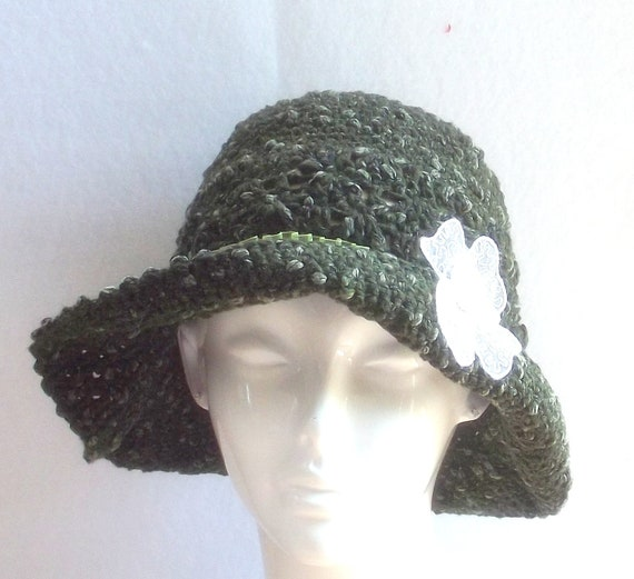 Design By Sheri Dark Green Acrylic Chenille Crochet  Womens Brim Hat