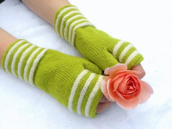 Wool fingerless gloves, fingerless gloves, hand warmers, lime green gloves, green gloves, wool gloves, lime white gloves
