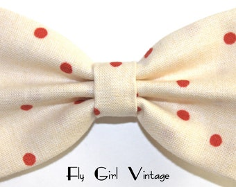 Vintage-Style-1920's-1940's-Rockabilly-1950's-Inspired-Hair-Clip-Fabric-Hair-Bow-Cream-White-With-Red-Polka-Dots-For-Women-Teens-Girls-Baby