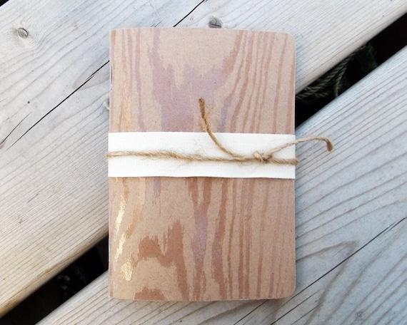 Handmade Mini Notebook - Field Journal - Art Journal - Blank - Sketchbook - 3.5x5 - Pocket - Kraft - Embossed Design