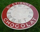 SOLD -Breakfast Table Clock Face Hand Painted and Distressed  French Chocolat Red and Cream