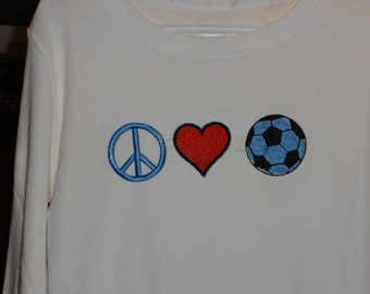 Embroidered Peace,Love,Soccer