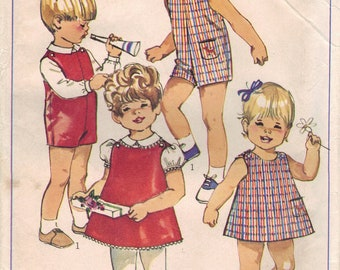 Vintage Simplicity Sewing Pattern 7881 - Toddlers' Suit, Blouse, and Dress or Jumper (1-2)