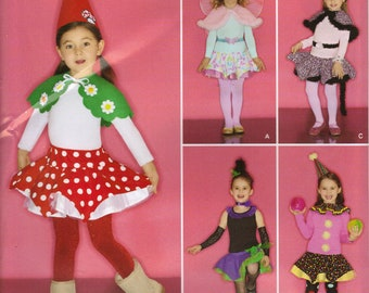 Simplicity Costume Sewing Pattern 0812 (aka 2327) - Child's Fairy, Ballerina, Leopard, and Clown Skirt Costumes (3-8)