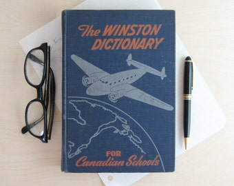 1930s School Book - The Winston Dictionary for Canadian Schools - Vintage Dictionary - Airplane Art Book Blue Globe Art - World Travel Decor