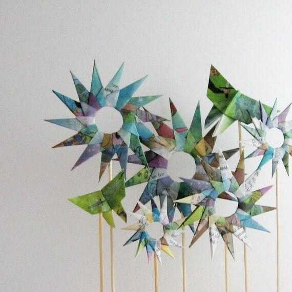 Paper Garden - Origami Sculpture - Floral Home Decor - Flower Garden - Paper Butterflies - Recycled Book Art - Childrens Decor - Modern Art