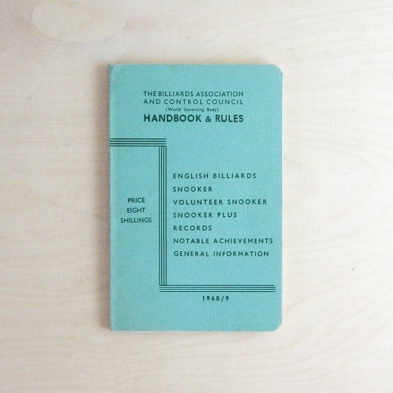 The Billiards Association and Control Council - Vintage 1960s Handbook & Rules for English Billiards Collectible