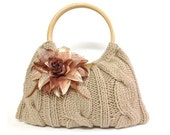 knitted bag purse taupe color hand knitted handbag purse knitted everydag handbag