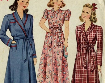 Simplicity 3505 Girl's Housecoat sz 6 Robe 1940s Sewing Pattern
