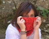 COWL SCARF, Hand KNIT, Orange, Warm and Chunky Scarf for Autumn and Winter, Neck Warmer, Extra Soft Acrylic Yarn, Knitted