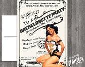 Vintage Pin Up Girl Invitation- Bachelorette party, Hens night, Lingerie Shower Birthday invite diy print file PRINTED OPTIONAL