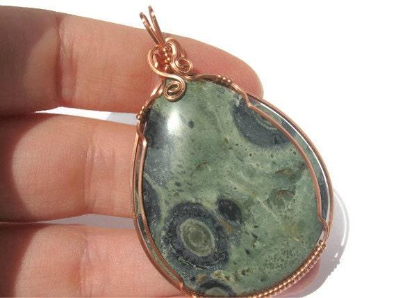 Kambaba Jasper Earthy Pendant, Copper Wire Wrapped