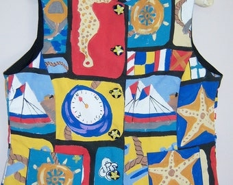 Nautical theme womens vest handpainted multi-colored