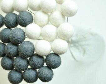 Felt flower bouquet, wool craspedia, white grey bouquet, yin yang decor, billy balls, office bouquet, billy buttons, craspedia bill ball