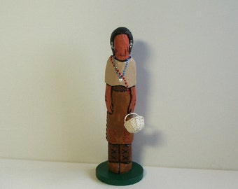 Osage Native American Indian faceless worry doll Ooak miniature historical art collectible