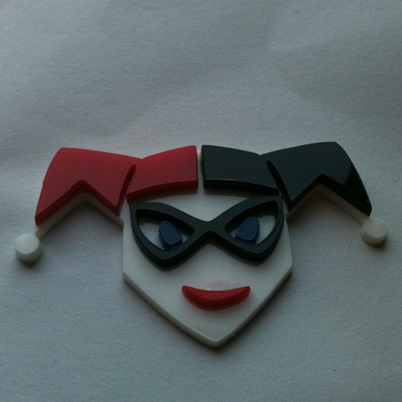 Harley Quinn Brooch, Red White and Black Acrylic Pin