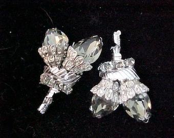 1950's Earrings Glitz Glamour Sparkle    Large Shimmering Stones  Dramatic