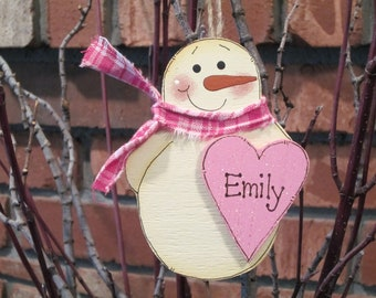 Personalized Snowman Ornament - Pink Heart