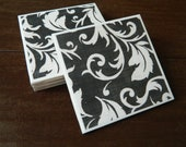 Coasters- Black and white flourish set of 4