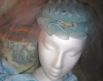 Accessories...Pale Blue Horsehair Pouf Fascinator So Vintage