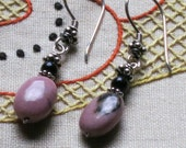 Earrings - Rhodonite, Black Onyx and Sterling Silver - Dusty Pink and Black Gemstones - Small earrings
