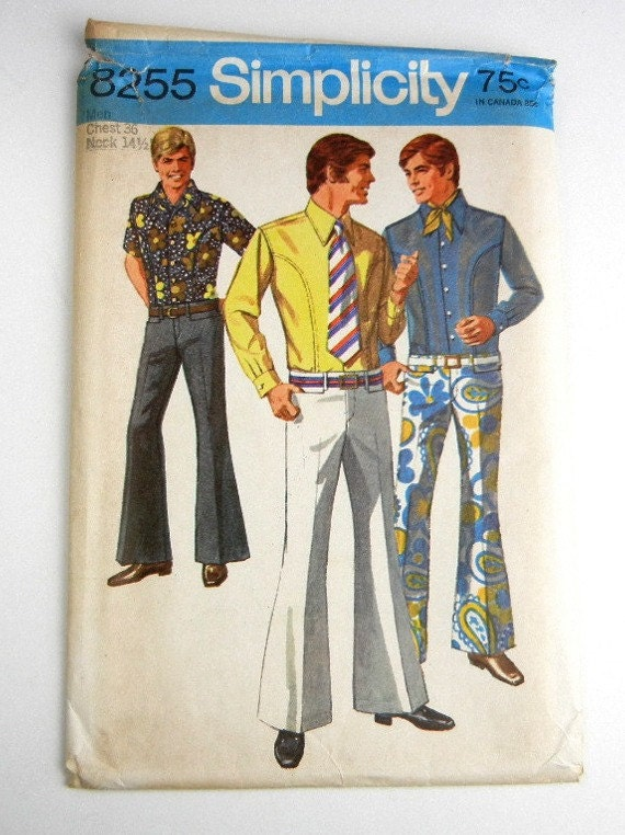 Vintage sewing pattern uncut mens pants bell-bottom hip-hugger pants and body shirt 1969 chest 36 neck 14 1/2