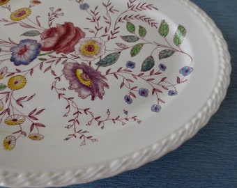 "Vernon Kilns California Chintz Large Oval Platter, 14"" Hand Painted Under Glaze"