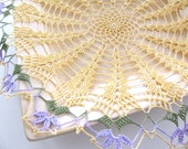 Floral Yellow Crochet Lace Doily with Purple Edging