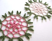 Shabby Chic Pink and Green Crochet Appliques Set of Two