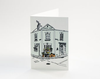 Greeting card with illustration of a green house in Kent, England