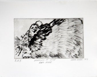 Learning To Love Rats More copperplate print on paper - State 1, B.A.T.