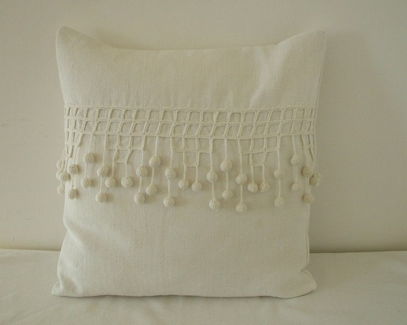 VINTAGE FRENCH LINEN & handworked vintage french crochet  pillow.cushion