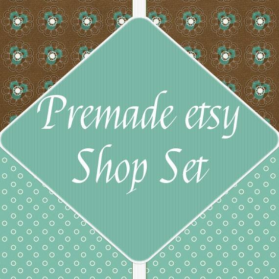 OOAK Premade Etsy Shop Banner Avatar Image Set - Green Flowers