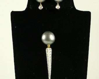 NETTIE ROSENSTEIN Art Deco Scepter Brooch and Matching Earrings