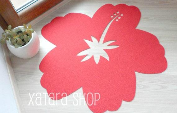 Hibiscus flower rug. Doormat with flower silhouette. Hawaii home decor. Aloha floor mat. Summer decor