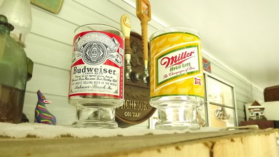 Budwesier & Miller High Life Quart 32 OZ. Footed Advertising Beer Glasses Glassware